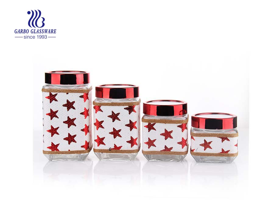 pretty glass storage jars with red decorative leather coating