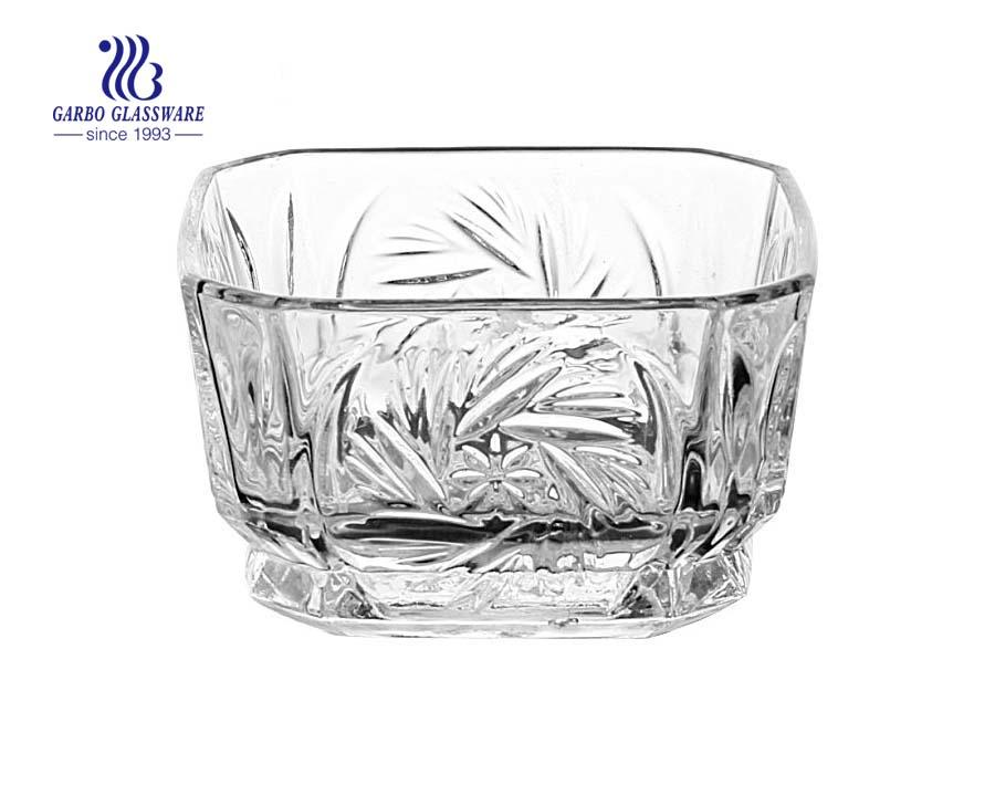 """Taça de servir de vidro com design quadrado de 4.3 """""""