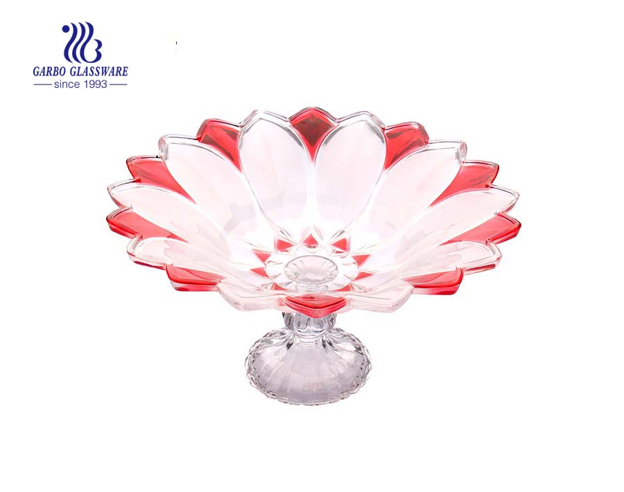 12'' Glass bowl with lotus design for serving fruit
