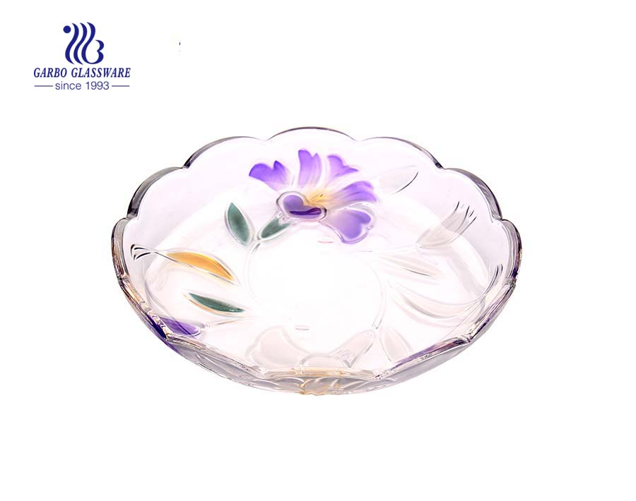 Glass fruit plate with sprayed petunia design