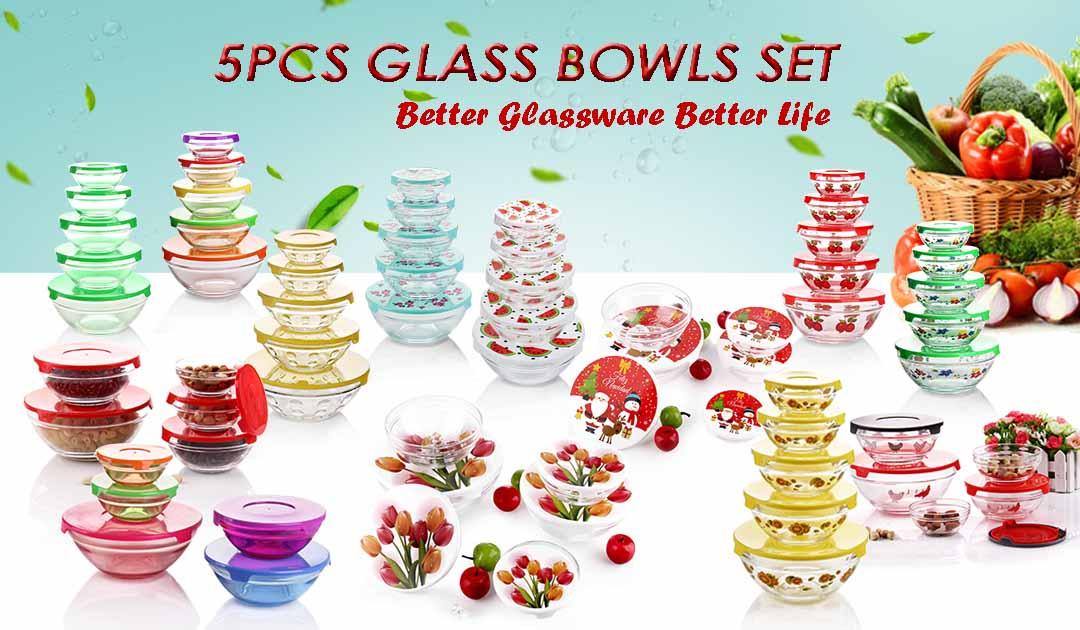 5PCS GLASS BOWLS SET