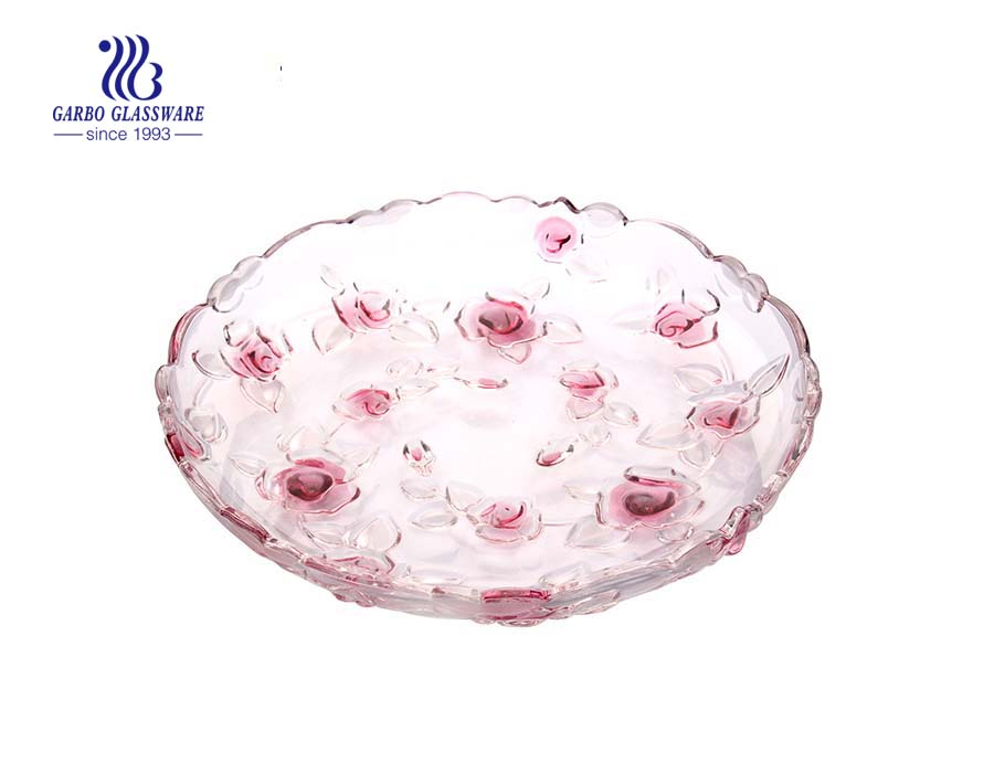 Glass pink fruit plate with rose design