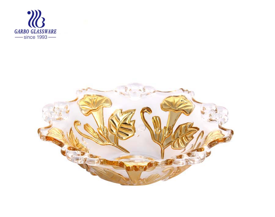 12'' Glass fruit bowl with electroplating gold