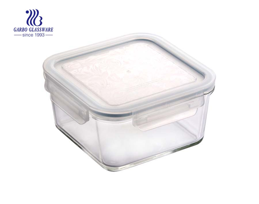 1.1L High borosilicate square food glass containers