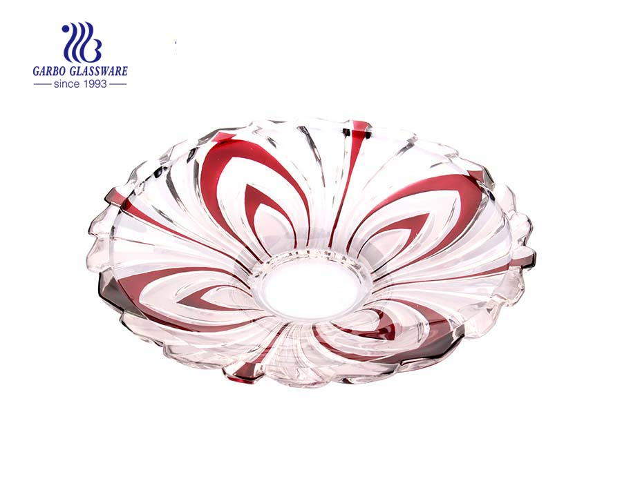 Glass fruit plate with partial spray color design