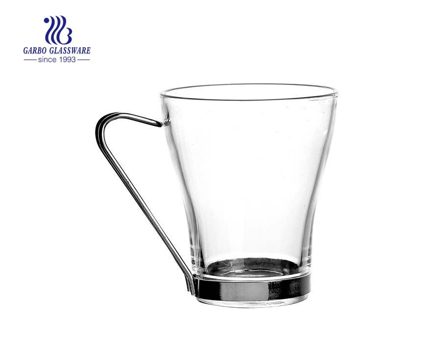 glass coffee mug with metal handle