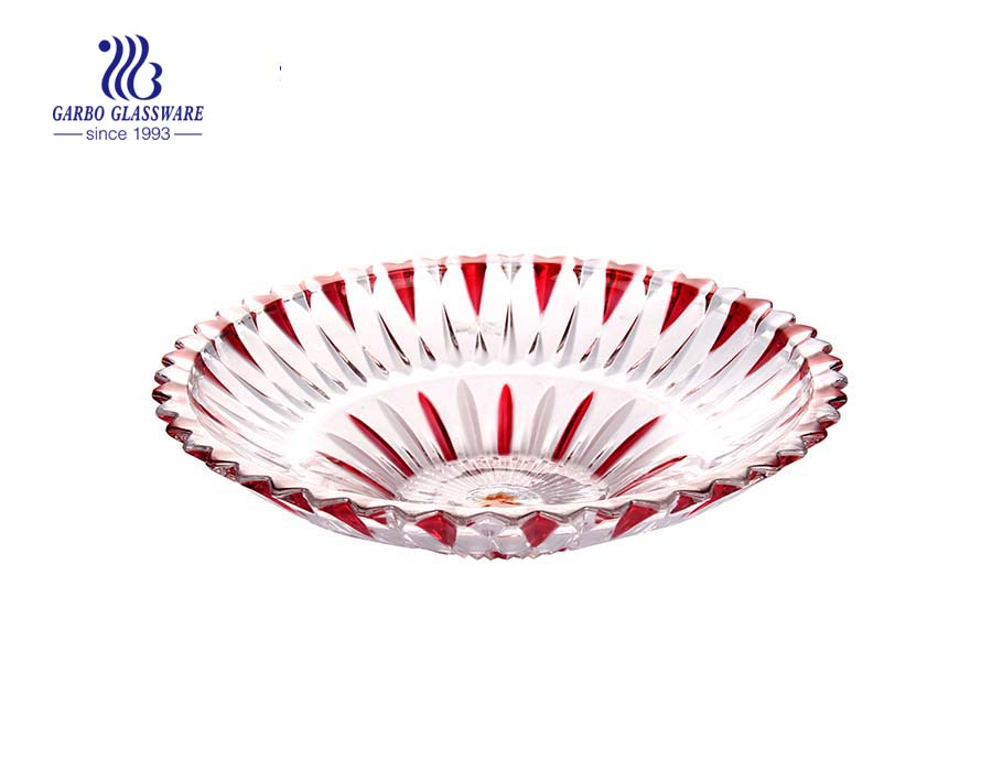 14'' Glass Plate with spray color for serving fruit