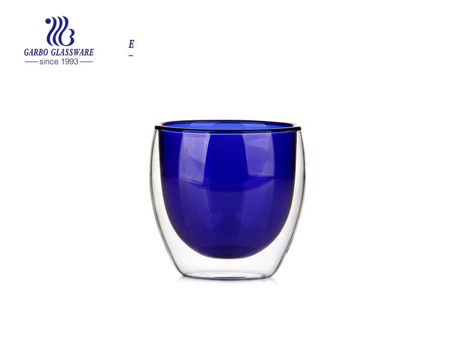 9oz Blue solid color double wall glass cup for drinking