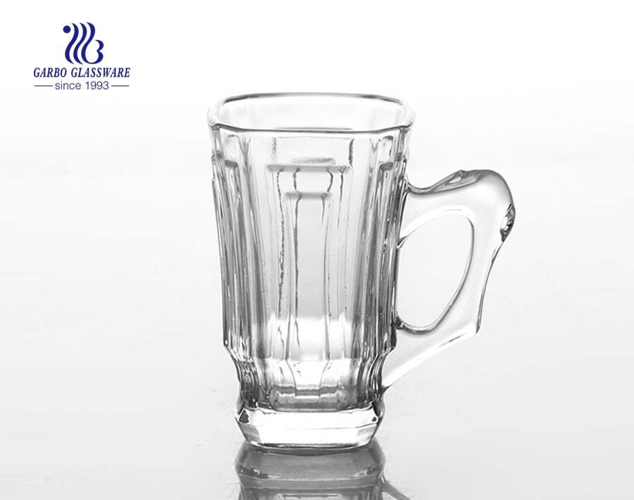 clear glass tea mug with handle