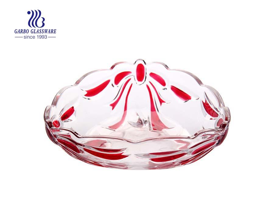 Fruteira de vidro com desenho de bowknot pulverizado