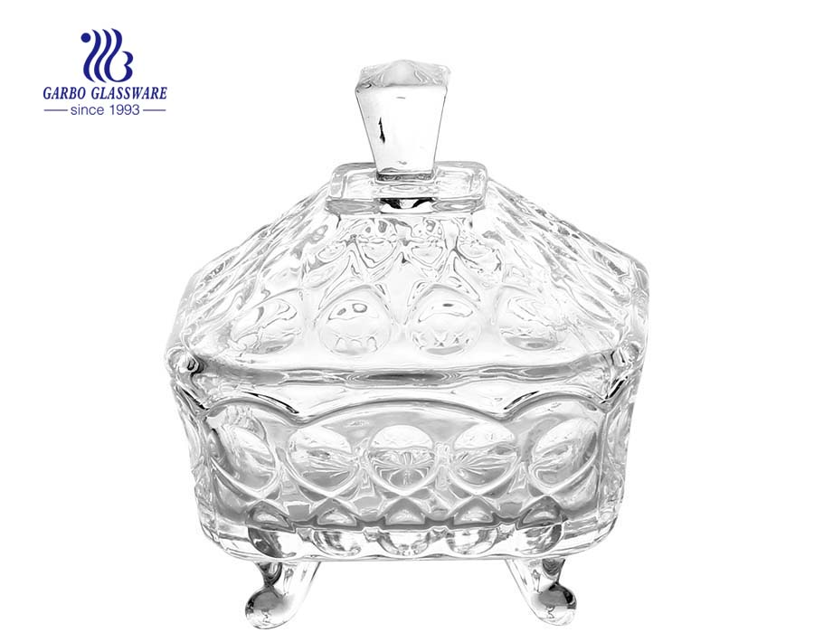 Circle Pattern Engraved Glass Candy Jar with Lid