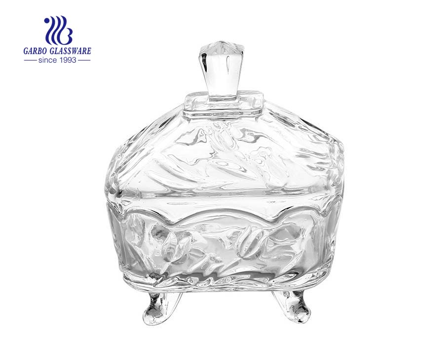 Footed Engraved Glass Candy Jar with Lid