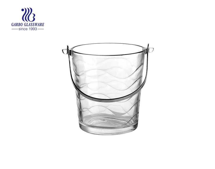 China pressed glass ice bucket factory
