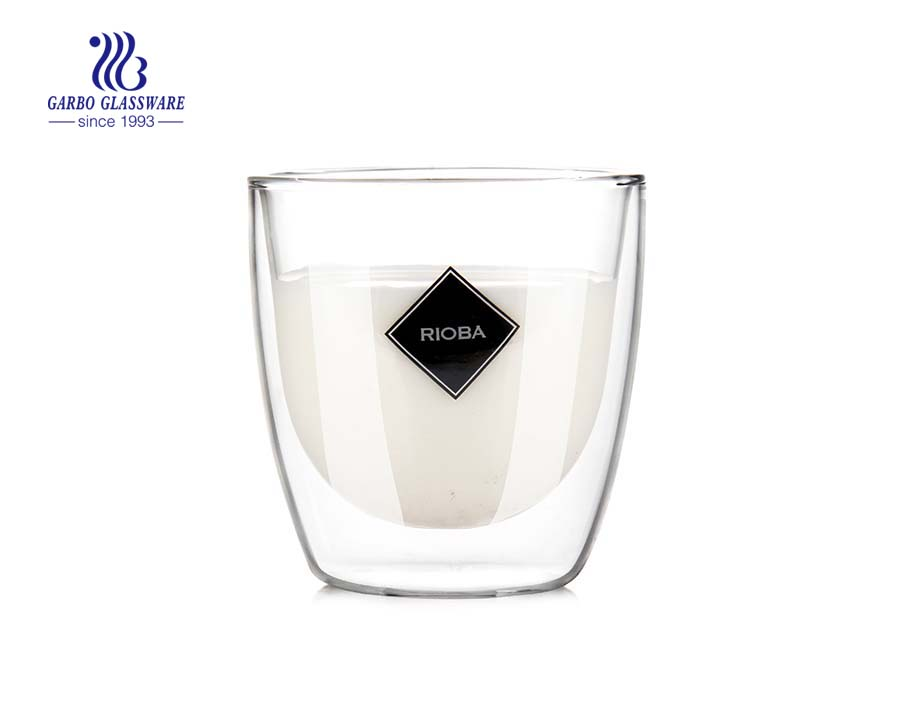 Hotsell design borosilicate double wall glass coffee cup 8oz