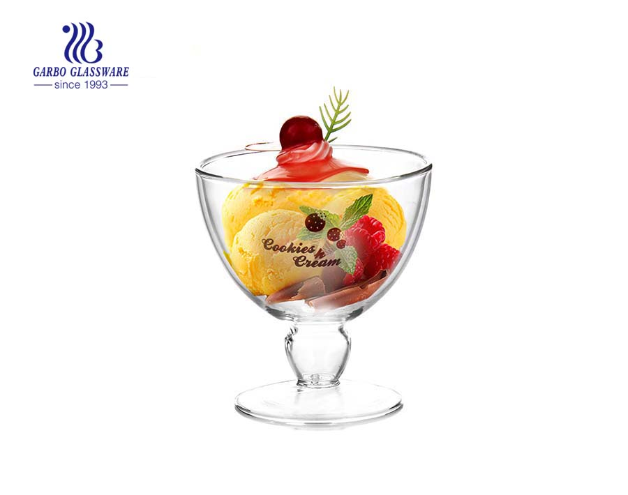 Double wall borosilicate glass ice cream cup