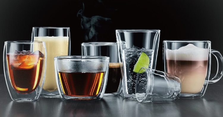 Fashion design pyrex double wall glass cup