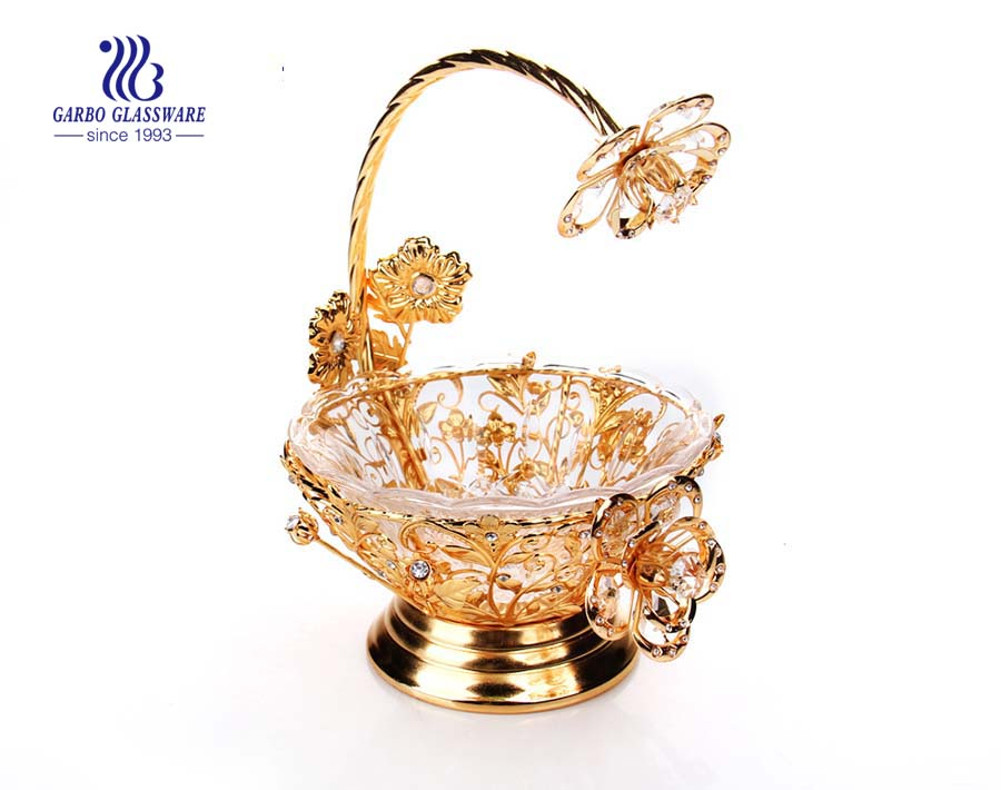7.28'' Glass Plate with Golden Decoration