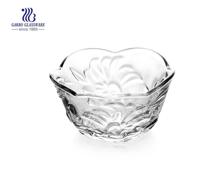 Hot Selling Embossed Crystal Glass Salad Bowls with Big Flower