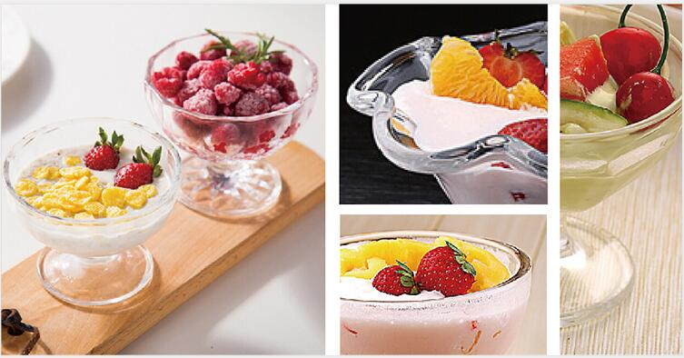 China Classical Style Popular Design Engraved Glass Ice-cream Cup
