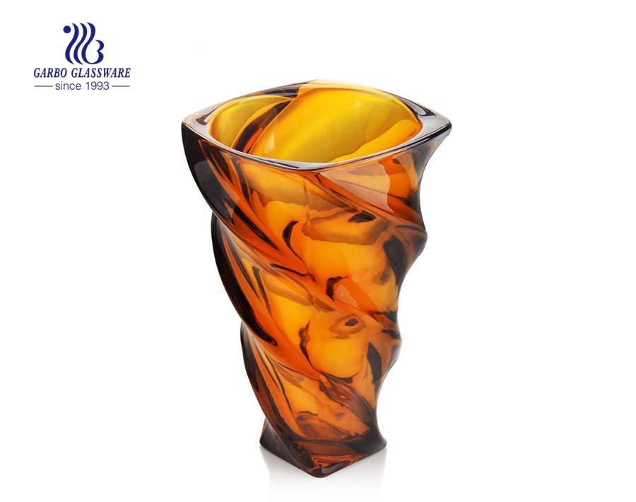 Cor âmbar decoração de casa vaso de flor de vidro para presente de feriado