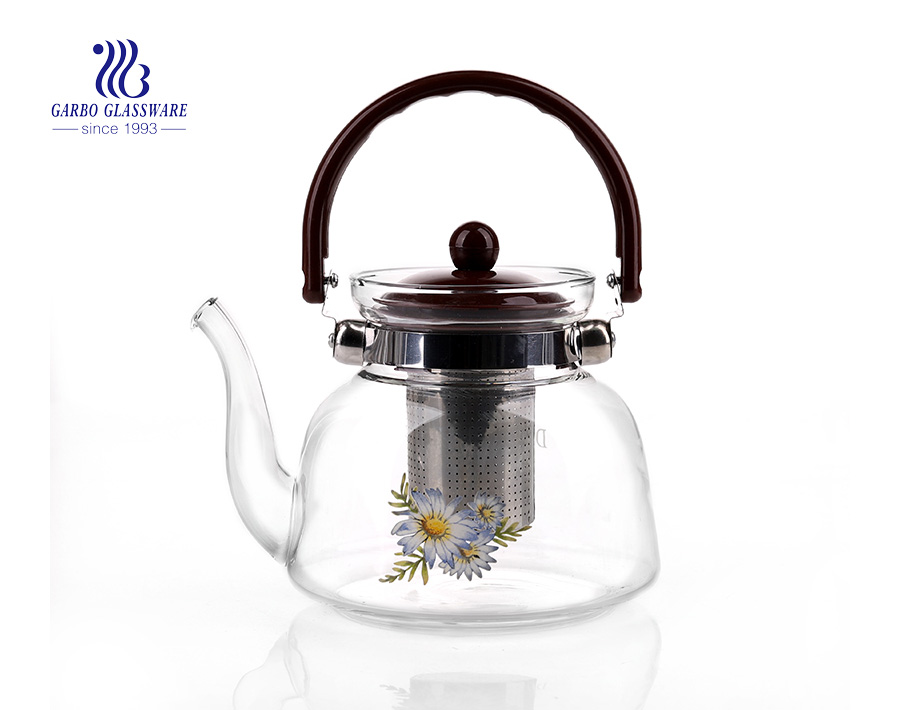 Made in China 1.3L pyrex glass teapot with infuser