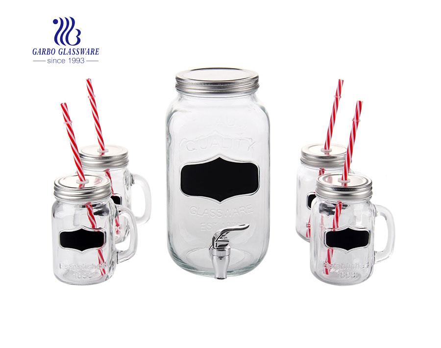 Bình phân phối thủy tinh 3.5L với 4 bình thợ xây có ống hút
