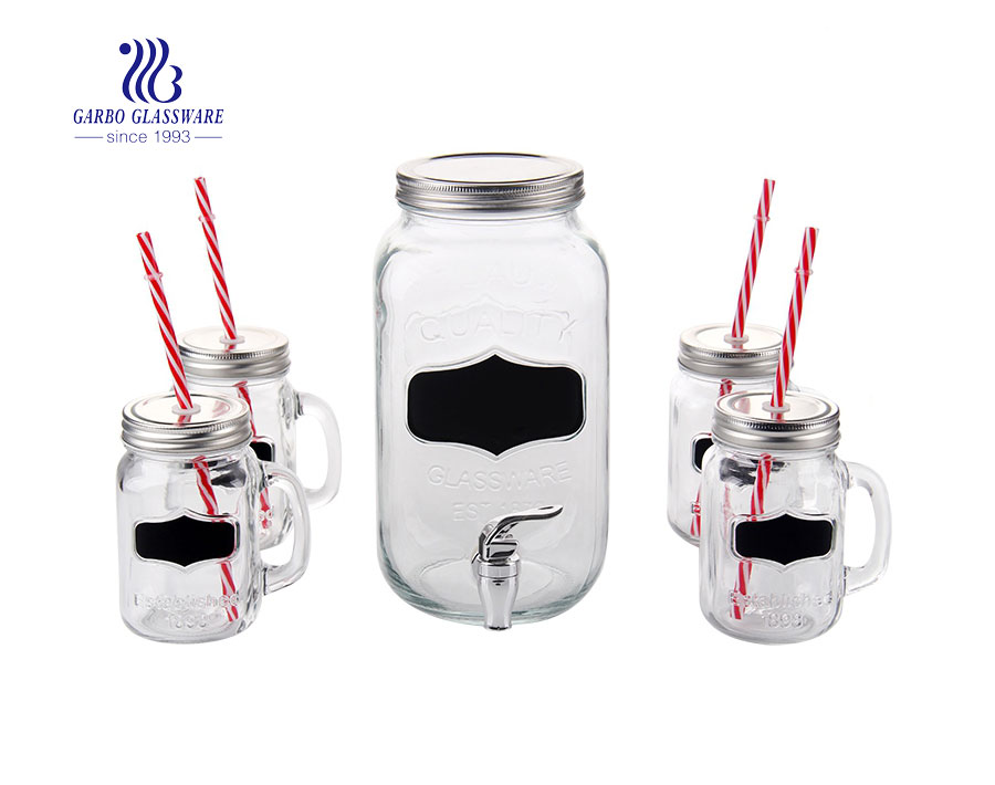 Frasco dispensador de vidrio de 3.5L con 4 frascos de albañil con pajita