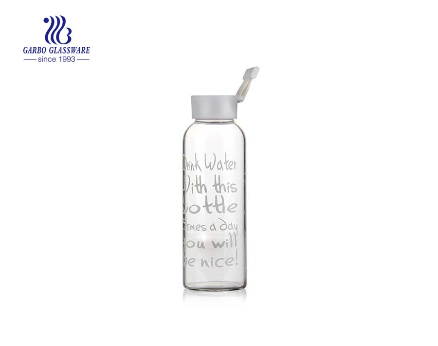 560ml Pyrex Glass Water Bottle With Printing Design