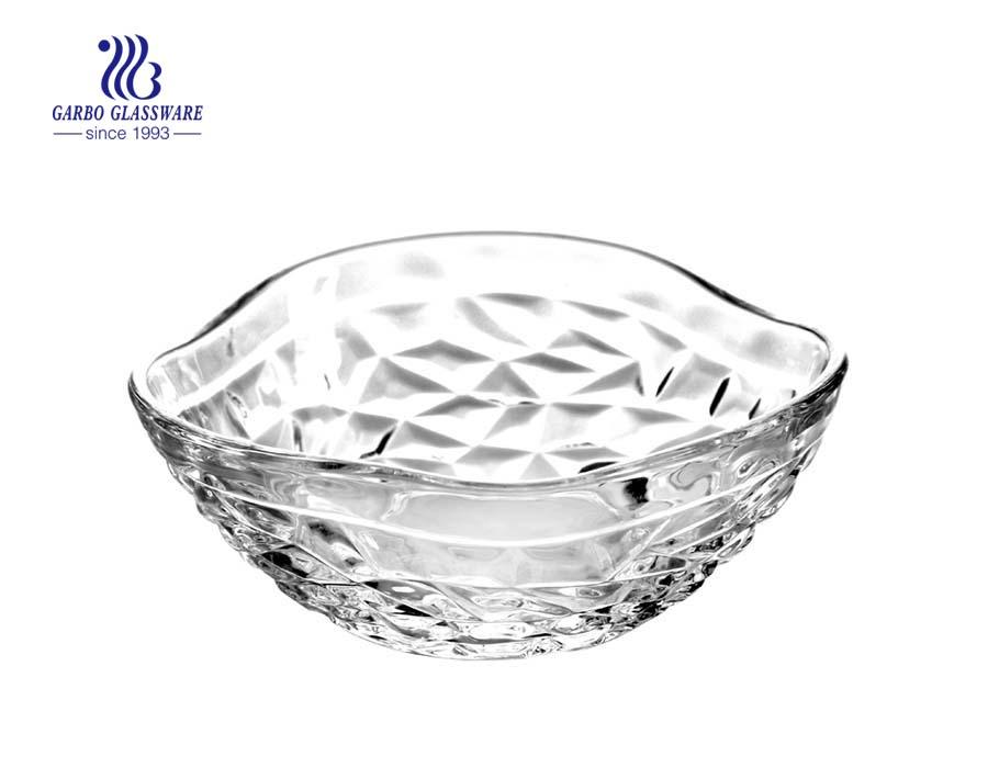 Wholesale 5inch unique shape clear crystal glass salad bowl