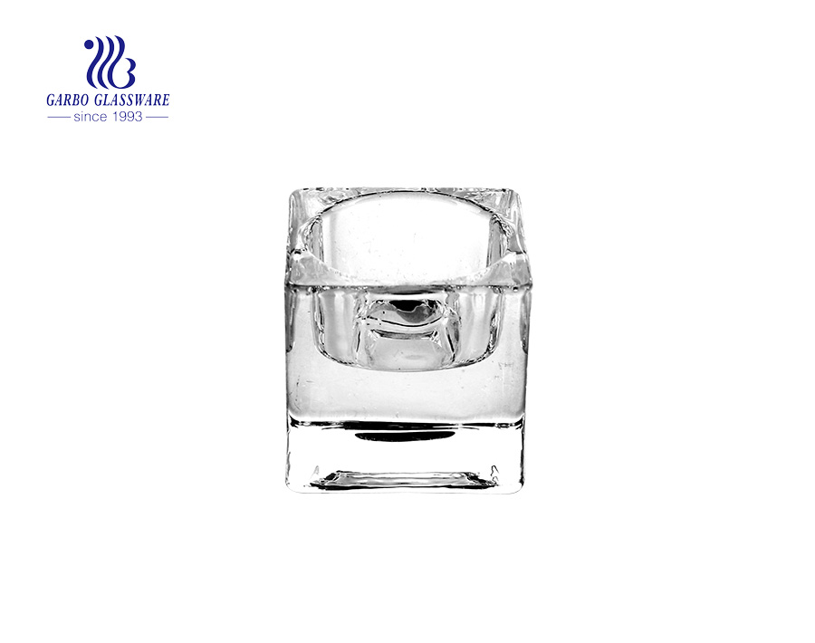 Square Shaped Clear Glass Candle Holder For Decoration Use