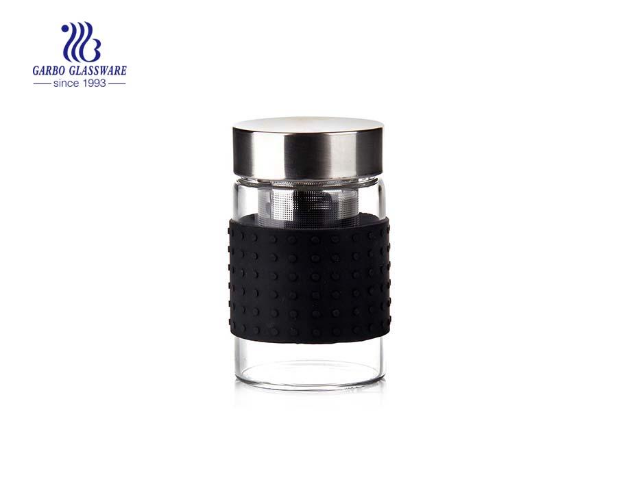 280 مل حار بيع زجاجة ماء زجاجية صغيرة لشرب الشاي الساخن مع غطاء معدني و infuser