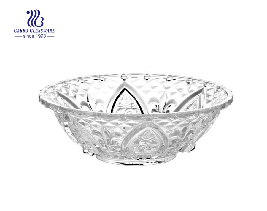 Wholesale High White Quality 7 inch Engraved Glass Salad Fruit Bowl GB1301174LH