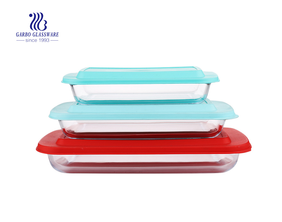 Pyrex 3PCS Rectangular Bakeware Set with silicone lid