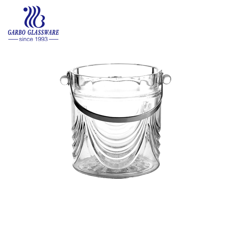 Glass ice bucket with cutting design