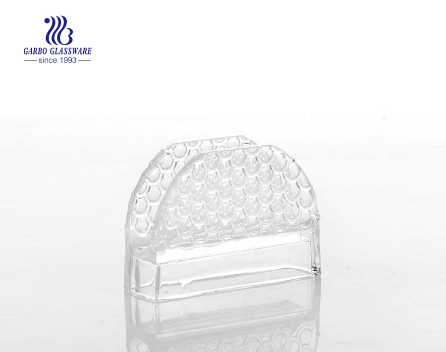 Wholesale high quality crystal clear glass napkin holder