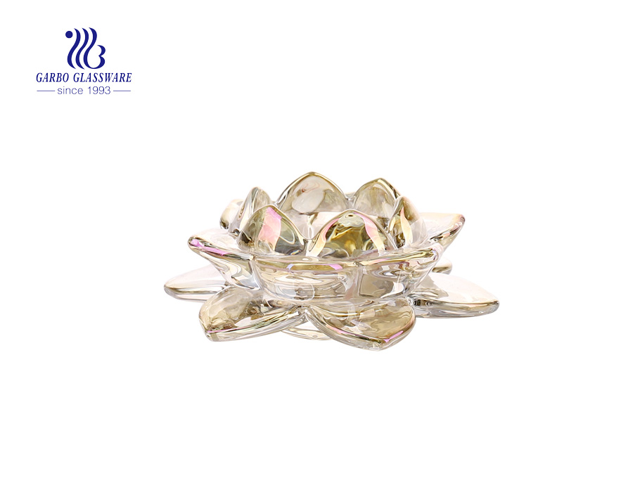 Golden Lotus Glass  Candle Holder For Decoration