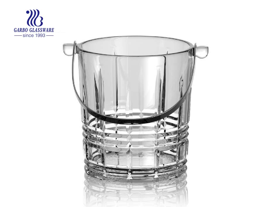 1L mini glass ice bucket used at homes and bars