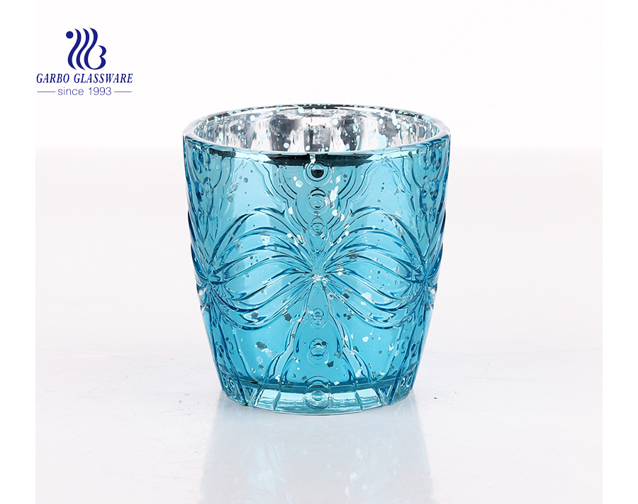 Blue Unique Round Shaped Glass Candle Holder