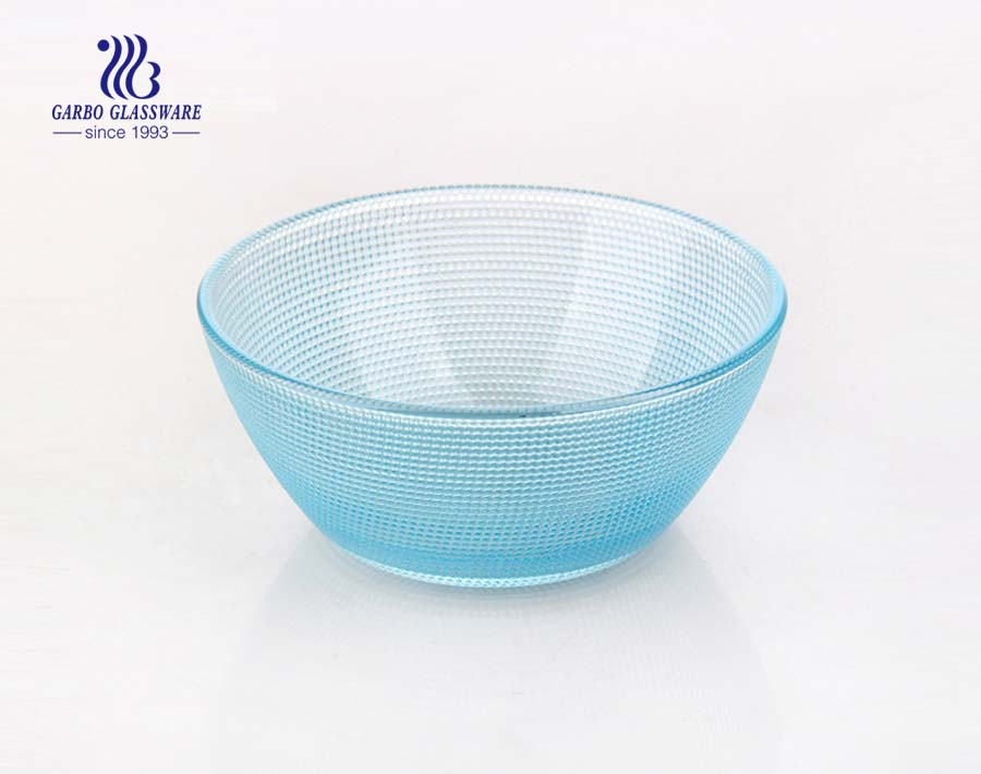 4.92 inch classical pearl design glass bowl with customized spray color