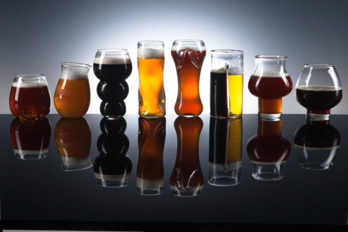 Handmade Blown Glass for different Beer Tasting