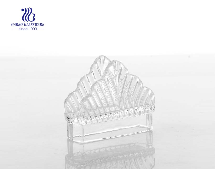 Delicate crystal glass napkin holder for table use at home or restaurants