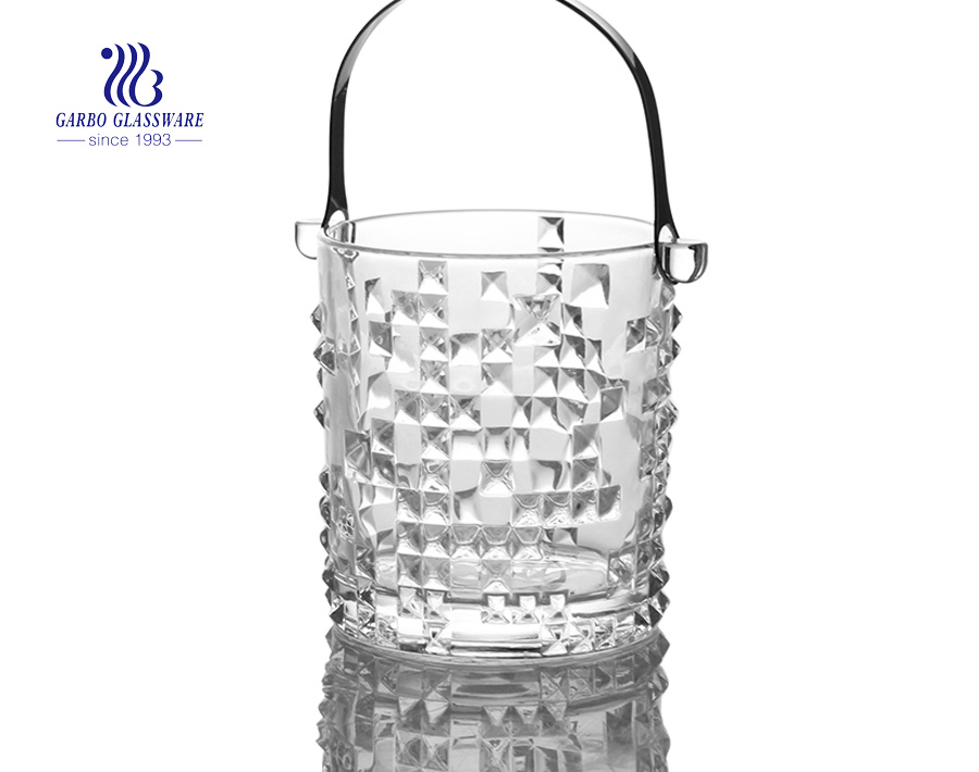 1L portable sparkling glass ice bucket for wine for champange