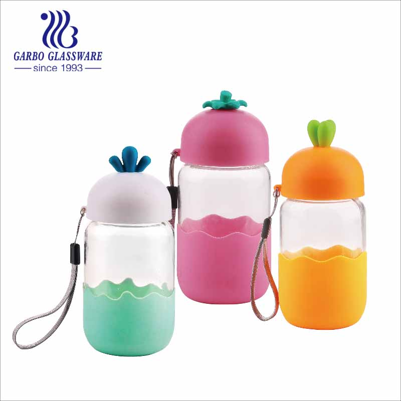 portable glass bottles with plastic cover