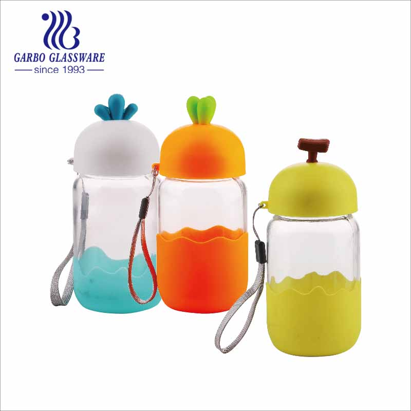 portable glass bottles with plastic courful cover