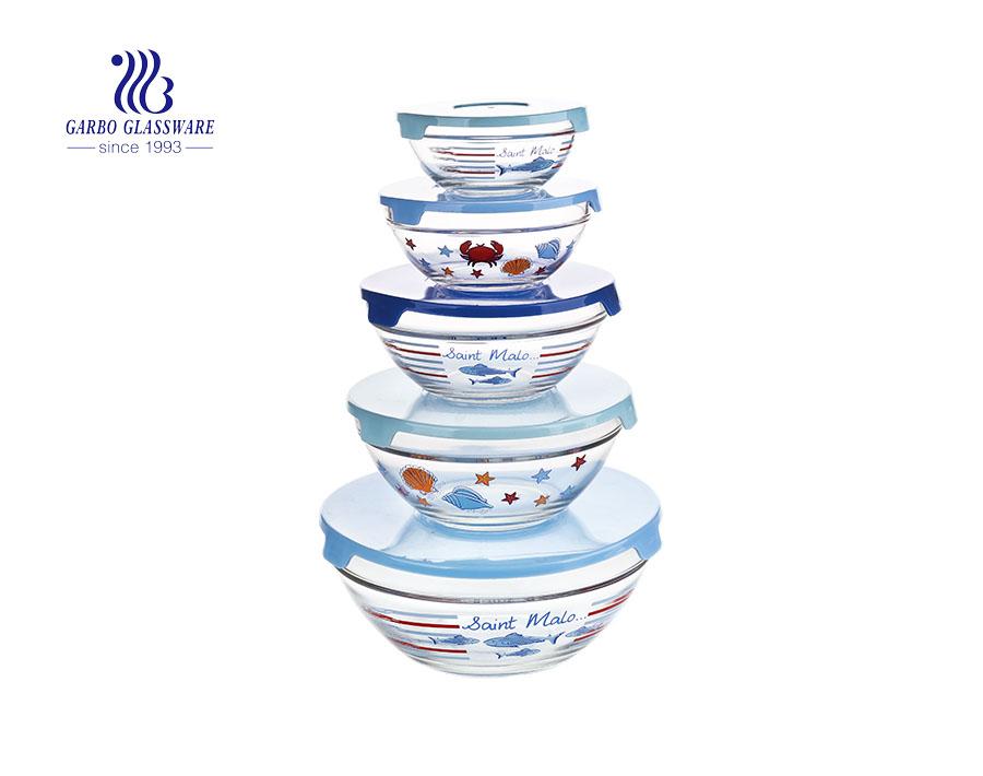 5pcs glass salad bowl set
