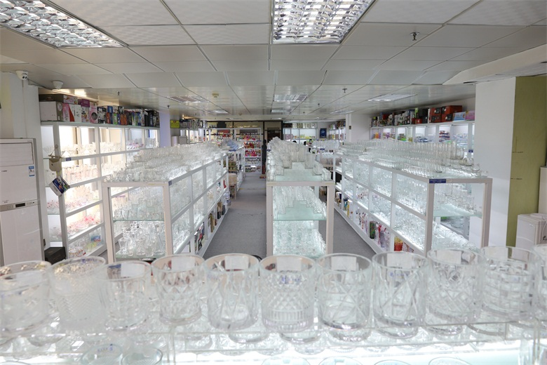 engraved glass cups showroom