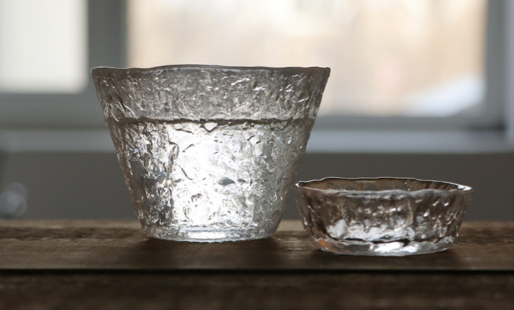 Beautiful glass cups are blown up