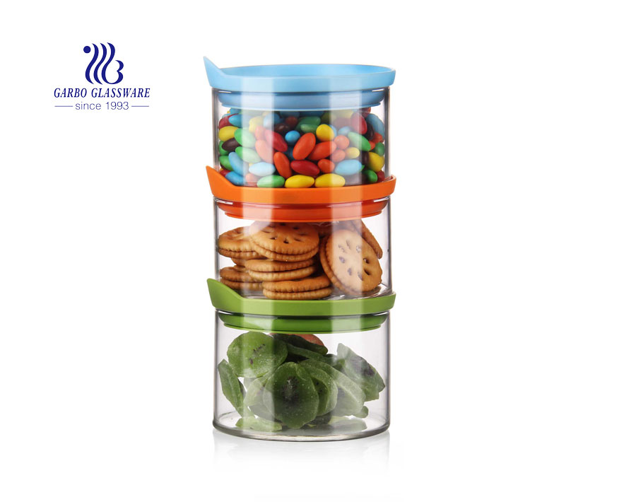 800ml Glass Stackable Airtight Food Storage Containers with Turquoise Lids Jar set of 4 Kitchen Canisters for pantry storage