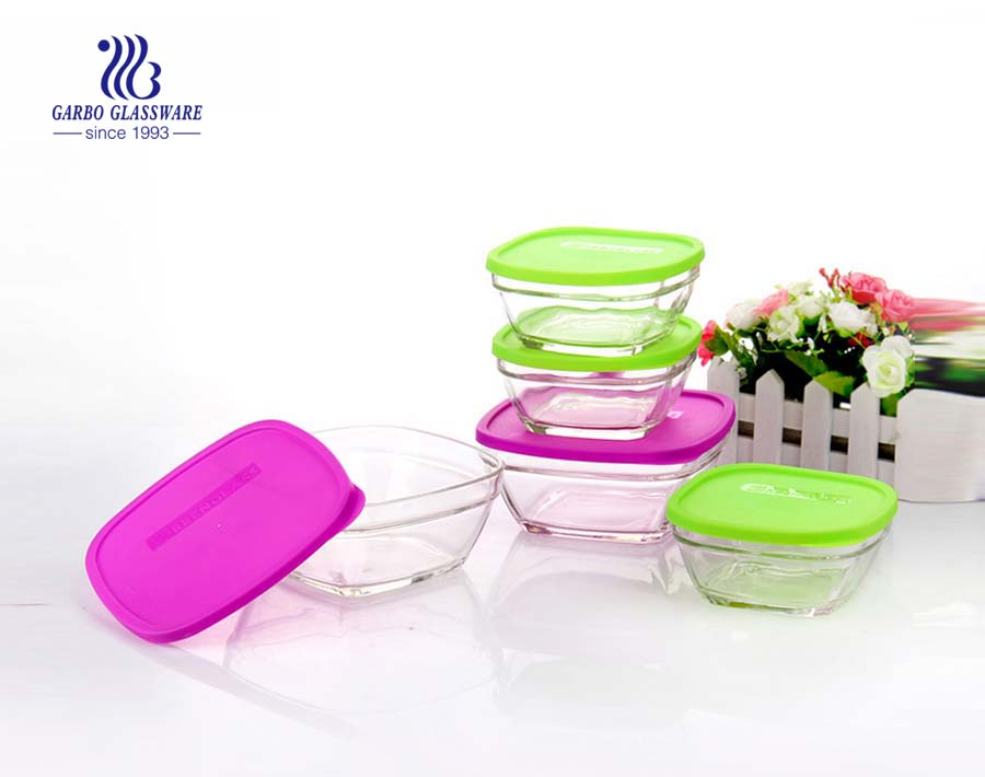 2PCS 310 650ml high quality glass food storage container with different color PP lid keep food fresh