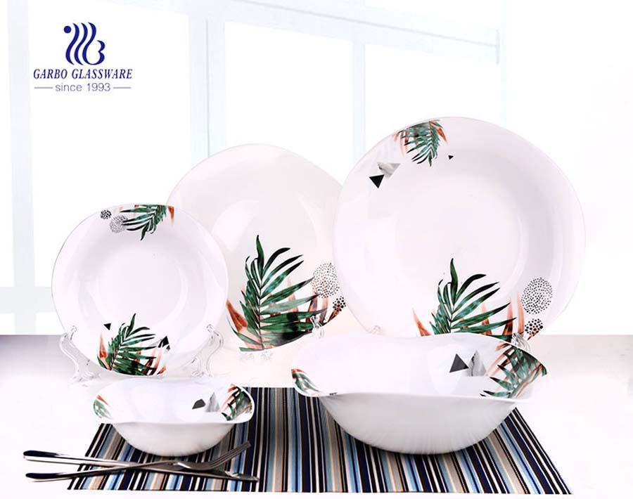 Conjunto louça de vidro opal 18 placa de vidro temperado e tigela com decalque especial